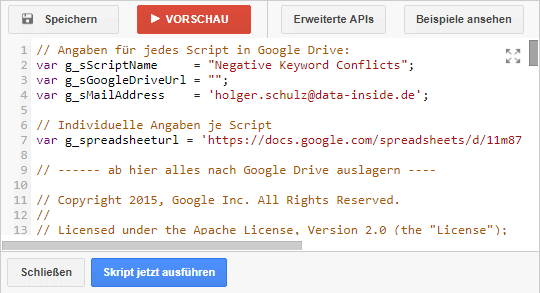 AdWords Scripts Config Parameter 3
