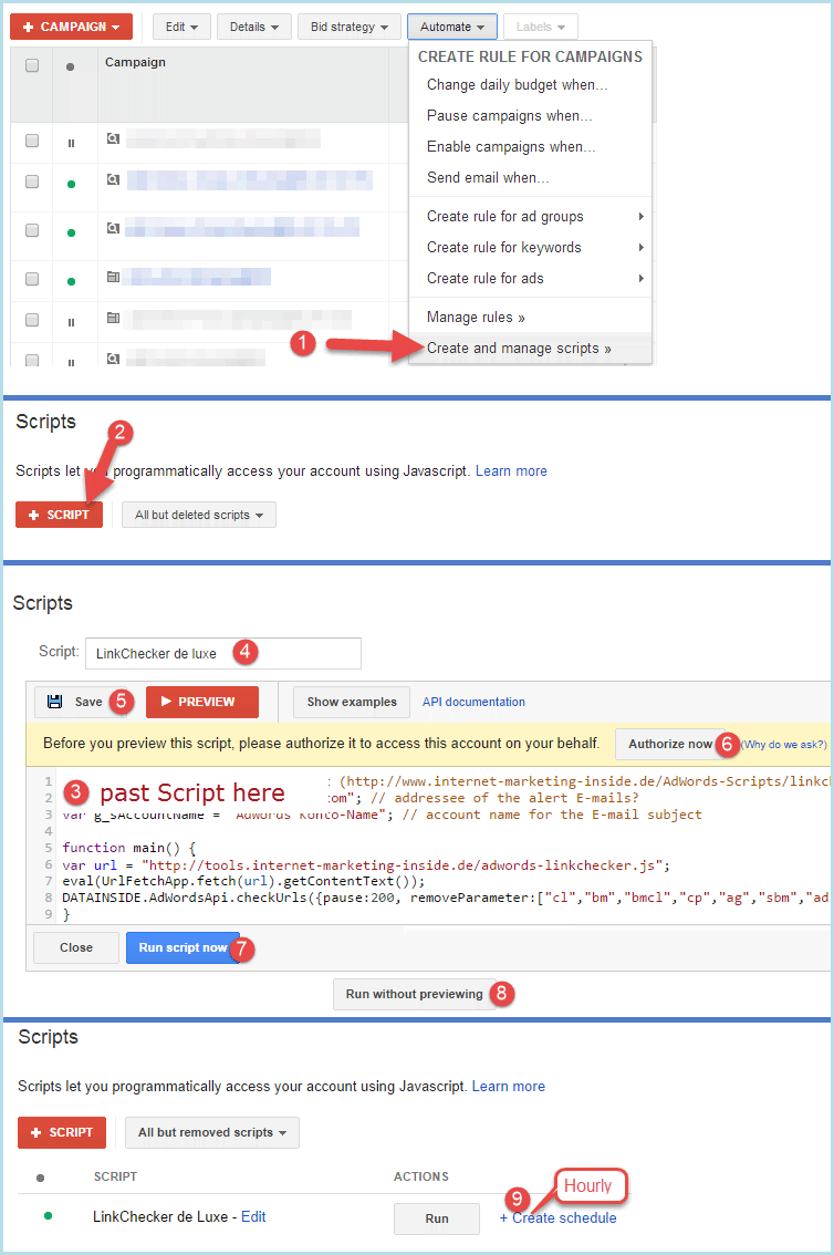 AdWords Scripts LinkChecker Installation